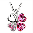 Full drill hearts clovers crystal necklace female brief paragraph