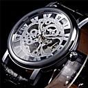 Buy WINNER® Men's Semi-Mechanical Manual Winding Fashion Skeleton Watch PU Leather Strap Cool Unique