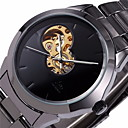 Men's Auto-Mechanical Hollow Black Dial Steel Band Wrist Watch Cool Watch Unique Watch