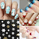 Buy Hot Gold 3D Nail Art Stickers Decals,12 sheet Top Christmas snowman Mixed Designs Tips Accessory Decoration Tool