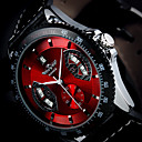 mannen automatische mechanische fashion design horloge kalender pu lederen band