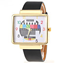 Buy Popular Quartz Watch Analog Indicate Checkered Leather Band Women-gold Cool Watches Unique