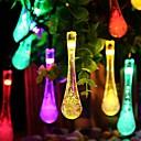 王RO太陽19.68フィートは水滴クリスマスパーティー装飾ライト屋外防水文字列のライトを30LED