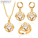 Buy Trendy Women Party Gift 18K Gold Plated White Zircon Crystal Necklace Earrings Fashion Jewelry Sets S20052