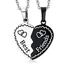 Buy Women's Pendant Necklaces Pendants Titanium Steel Heart Fashion Silver-Black Jewelry Daily Casual 1 pair