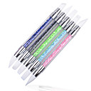 Buy Fashion Nail Art Carving Pen Brushes Silicone Head Acrylic Handle Salon Tool Set 2 Way Brush