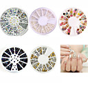 Buy Nail Art Decoration White Pearl Colorized Rhinestones 3D Glitter Metal Round Wheel Stickers Square Rivet Studs Supplies
