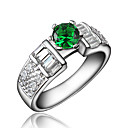 Buy Ring AAA Cubic Zirconia Gold Plated 18K gold White Red Green Blue Jewelry Wedding Party Daily Casual 1pc