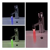 스타일리쉬 수압 전원 LED 수전 조명 (플라스틱, 크롬 마감)