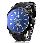남자의 자동 기계 뚜르 비옹 블랙 실리콘 밴드 아날로그 손목 시계 (분류 된 색깔)