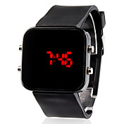 Hombre Reloj de Pulsera Digital LED Calendario Silicona Banda Negro Negro