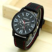 Men's White Black Dial Black Silicone Band Outdoor Sport Quartz Analog Wrist Watch Cool Watch Unique Watch Fashion Watch