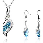Mujer Juego de Joyas Pendientes colgantes Collares con colgantes Pendiente Cristal Diamantes Sintéticos Moda Elegant joyería de disfraz