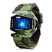 SKMEI 남성 밀리터리 시계 손목 시계 디지털 시계 LED LCD 달력 크로노그래프 방수 경보 디지털 실리콘 밴드 그린