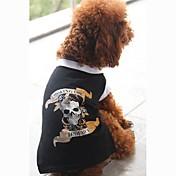 Perros Camiseta Negro Ropa para Perro Verano Cráneos