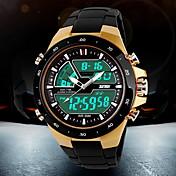 SKMEI Hombre Reloj Deportivo Reloj de Moda Reloj de Pulsera Reloj digitalLCD Calendario Cronógrafo Resistente al Agua Dos Husos Horarios
