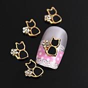 10pcs Golden Plated Metal Black Cat Rhinestone 3D Alloy Nail Art Decoration