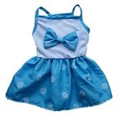 개 드레스 레드 / 블루 강아지 의류 여름 리본매듭