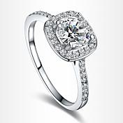 여성용 문자 반지 약혼 반지 러브 유럽의 신부 의상 보석 지르콘 모조 큐빅 은 도금 도금 골드 모조 다이아몬드 보석류 보석류 제품 결혼식 파티 생일 일상