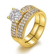 여성 문자 반지 유럽의 의상 보석 지르콘 구리 18K 금 모조 다이아몬드 보석류 제품 파티 일상 캐쥬얼