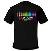 Camisetas LED  Luces LED Activadas Por Sonido Textil Elegante 2 Baterías AAA