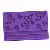 Molde de la torta del silicón de la pasta de azúcar de las libélulas Mariposas patrón, 20x13x1cm