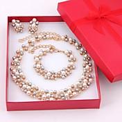 Mujer Juego de Joyas Pendientes colgantes Collar con perlas Pulseras del filamento Perla artificial Cristal Perla Nupcial Elegant joyería