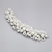 Mujer Niña de flor Aleación Perla Artificial Zirconia Cúbica Celada-Boda Ocasión especial Flores