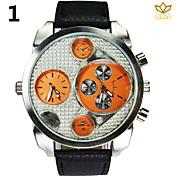 남자 라운드 다이얼 캐주얼 시계 가죽 스트랩 석영 듀얼 디스플레이 시계 패션 손목 시계 (모듬 색상)