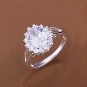 여성 문자 반지 고급 보석 의상 보석 지르콘 모조 큐빅 은 도금 보석류 제품 결혼식 파티 일상 캐쥬얼