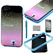 아이폰 4 / 4S를위한 스크린 보호 및 스타일러스 코코 fun® 민들레 꿈 패턴 소프트 TPU 다시 케이스 커버