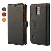 용 삼성 갤럭시 케이스 지갑 / 카드 홀더 / 스탠드 / 플립 케이스 풀 바디 케이스 단색 인조 가죽 Samsung S5