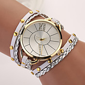아가씨들 패션 시계 팔찌 시계 펑크 석영 PU 밴드 보헤미안 우아한 멀티컬러
