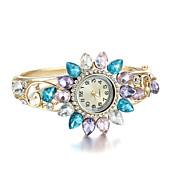 아가씨들 패션 시계 석영 모조 다이아몬드 합금 밴드 골드
