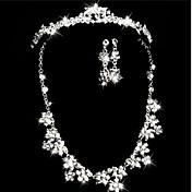 쥬얼리 세트 아크릴 라인석 모조 다이아몬드 신부 결혼식 파티 1 세트 목걸이 귀걸이 결혼 선물