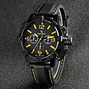 V6 남성 손목 시계 석영 일본 쿼츠 실리콘 밴드 블랙