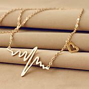 여성용 팬던트 목걸이 Heart Shape 티타늄 스틸 18K 금 베이직 디자인 유니크 디자인 러브 의상 보석 보석류 제품 결혼식 파티 일상 캐쥬얼