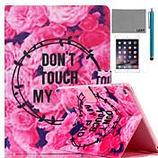 아이 패드 미니 4 화면 보호기 및 스타일러스 lexy® 꽃 이야기 패턴 PU 가죽 플립 스탠드 케이스