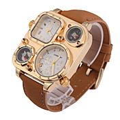 Men's Fashion Dual Time Zones Khaki Leather Strap Quartz Watch Wrist Watch Cool Watch Unique Watch