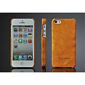 Para Funda iPhone 5 Soporte de Coche Funda Cubierta Trasera Funda Un Color Dura Cuero Sintético iPhone SE/5s/5