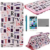 아이폰 6 / 6S에 대한 화면 보호기 및 스타일러스 lexy® 흰색 단어 패턴 PU 전신 가죽 케이스 플러스