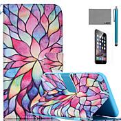 아이폰 6 / 6S에 대한 화면 보호기 및 스타일러스 lexy® 다채로운 꽃잎 패턴 PU 전신 가죽 케이스 플러스
