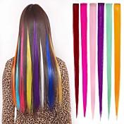 6 색 1 개의 클립 머리 확장에 긴 합성 직선 및 클립
