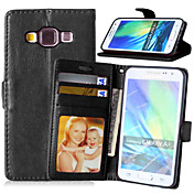 For Samsung Galaxy Case Card Holder / with Stand / Flip / Magnetic Case Full Body Case Solid Color PU Leather Samsung A5 / A3