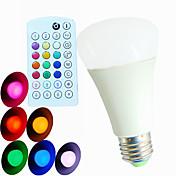 9W E26/E27 LED 글로브 전구 A60(A19) 3 고성능 LED 550 lm RGB 밝기 조절 / 음향 작동 / 리모컨 작동 / 장식 AC 100-240 V 1개