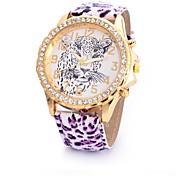 아가씨들 패션 시계 모조 다이아몬드 시계 석영 가죽 밴드 레오파드 멀티컬러