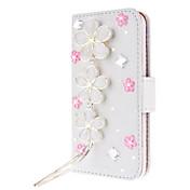 용 아이폰6케이스 / 아이폰6플러스 케이스 카드 홀더 / 크리스탈 / 스탠드 / 플립 / 패턴 케이스 풀 바디 케이스 꽃장식 하드 인조 가죽 iPhone 6s Plus/6 Plus / iPhone 6s/6