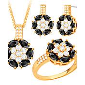 Mujer Juego de Joyas Collar / pendientes Collar / anillo Cristal Circonita Moda joyería de disfraz Cristal Zirconia Cúbica Cobre Chapado