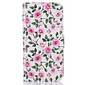 For Samsung Galaxy S5 S6 S7 S6edge S7edge Card Holder Flip Color  Roses Pattern Case Full Body Case Hard PU Leather