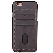 용 카드 홀더 케이스 뒷면 커버 케이스 단색 하드 인조 가죽 용 Apple 아이폰 7 플러스 아이폰 (7) iPhone 6s Plus/6 Plus iPhone 6s/6